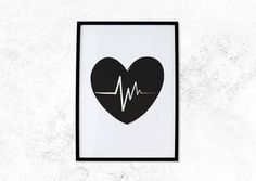Monochrome Print Love Heart Beat Wall Art by 4theLoveofStationery