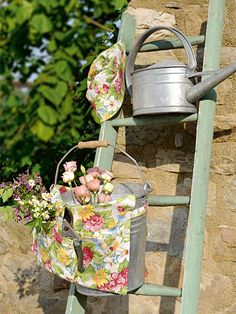 ladder, bucket, watering can