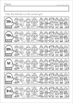 Kindergarten Winter Math Worksheets & Activities - Winter No Prep. A page from the unit: ordinal numbers coloring