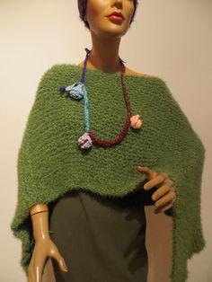 handmade Poncho, Merino Kidmohair Knitted Poncho, Crochet Necklace, Knitting, Handmade, Fashion, Ponchos, Scarf Crochet, Handarbeit, Breien