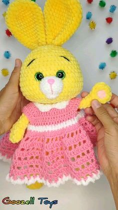 CROCHET BUNNY in clothes pdf pattern. Crochet outfit for stuff toys: dress and crown. Puppen Videos CROCHET BUNNY in clothes pdf pattern. Crochet outfit for stuff toys Crochet Crown Pattern, Crochet Toys Patterns, Stuffed Toys Patterns, Crochet Dolls, Crochet Clothes, Knitting Patterns, Crochet Outfits, Rainbow Crochet, Bunny Toys