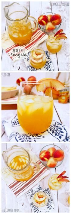 Peach Pie Sangria, perfect cocktail for Spring! {The Cookie Rookie} YUM! Refreshing Drinks, Summer Drinks, Fun Drinks, Beverages, Sangria Recipes, Cocktail Recipes, Sangria Cocktail, Peach Sangria, Milk Shakes