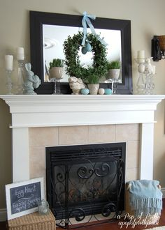 ~ An Easter Mantel ~ It's the Teal Blue & White Theme....