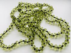Peridot Crystal/glass faceted bead long necklace - flapper - 52 inches by ElsiesVintageEmporiu on Etsy Glass Necklace, Crystal Necklace, Crystal Beads, Flapper Style, Vintage Jewellery, Crystals And Gemstones, Peridot, Wedding Accessories, Necklace Lengths