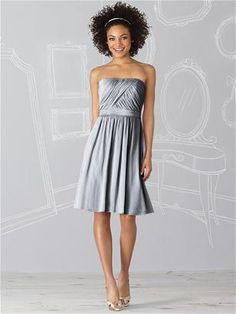 Silver grey bridesmaid dress.  Might the Scarlet and Grey Theme still be a possibility? :)