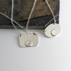Silver Rectangular Disc Necklace,Delicate Silver Jewelry,Dainty Silver Necklace,Minimalist Necklace,Simple Necklace,Layered Necklace by FAJMinimalist on Etsy