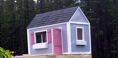 The outdoor wooden children's playhouse plan. Childrens Playhouse, Build A Playhouse, Wooden Playhouse, Indoor Playhouse, Types Of Planning, Concrete Slab, Outdoor Sheds, Building Plans, Play Houses