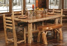 Dining Room: Oval Rustic Dining Room Table Old Rustic Dining Room Table Rustic Pine Dining Room Table Rustic Plank Dining Room Table Rustic Pedestal Dining Room Tables Rustic Dining Room Table Round from Great Display with the Rustic Dining Room Sets Rustic Kitchen Table Sets, Rustic Table, Log Table, Nice Kitchen, Rustic Room, Rustic Cabin Decor, Wood Tables, Kitchen Wood, Kitchen Modern
