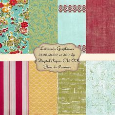 Fleur de Provence:  A Shabby Chic French Inspired Digital Paper Set