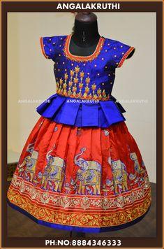 custom designer pure silk lehenga for kids in bangalore by Angalakruthi boutique kids boutique in bangalore custom designer pattu pavada for kids pavadai sattai designs