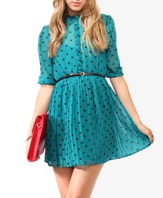 Ruffled Polka Dot Dress w/ Belt | FOREVER21 - 2000047788 - $25