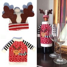 2015 Najnovšie 2ks / Set Christmas Red Wine Bottle Cover Kryty pre vnútornú výzdobu Antler Klobúky a topy Súpravy Kuchyňa večera Christmas (Čína (pevninská časť))