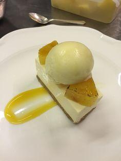 Passionfruit cheesecake, caramelised pineapple, pineapple sorbet