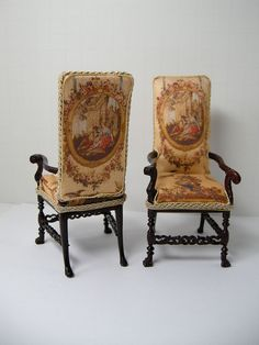 Ken Hazeltine, Regent Miniatures - Custom Tudor High Back Chairs, upholstered with reproduction tapestry, Bespaq frames Miniature Chair, Miniature Rooms, Miniature Houses, Miniature Furniture, Doll Furniture, Dollhouse Furniture, Victorian Dolls, Antique Dolls, Dollhouse Dolls