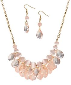 $12.99 Look what I found on #zulily! Peach Tonal Statement Necklace & Drop Earrings #zulilyfinds