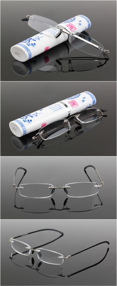 d6514043d1c9 Aliexpress.com   Buy Women Men Portable Super Light Resin Rimless Reading  Glasses Aged Special Purpose High Quality Presbyopic Glasses   Case G399  from ...