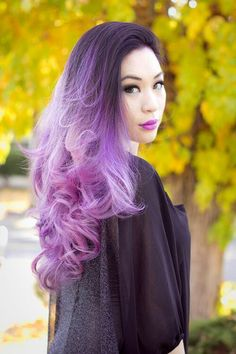 Ombre violet to lavender hair color