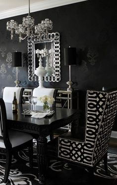 Design Your Own Dining Room Table Lovely Black Dark Home Decor Ideas Home Decor In 2019 Dining Room Table Decor, Elegant Dining Room, Luxury Dining Room, Dining Room Design, Dining Room Furniture, Living Room Decor, Kitchen Decor, Dining Rooms, Black And White Dining Room
