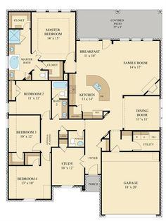 Hilltop New Home Plan in Meridiana: Vista Collection by Lennar Barn House Plans, New House Plans, Dream House Plans, House Floor Plans, My Dream Home, Dream Houses, The Plan, How To Plan, Barndominium Floor Plans