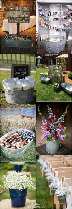 Rustic Buckets Tubs Wedding Ideas / http://www.deerpearlflowers.com/rustic-buckets-tubs-wedding-ideas/