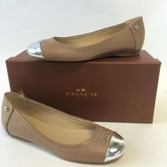 NIB Coach Chelsea Nude Flats Cap toe, leather upper and rubber soles. Signature COACH logo hardware on toe. 115 Style: chelsea. Color: Nude and silver Coach Shoes Flats & Loafers