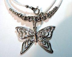 Handmade, Hippie, Boho, Gypsy, White, Glass, Beaded, Butterfly, Necklace