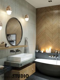 APARTAMENT W SOPOCIE #bathroom #wood #grey