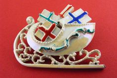 Vintage Brooch Christmas Sleigh With Gifts Enamel by TidBitz