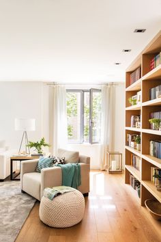 Salón con librería de madera_ 00465483