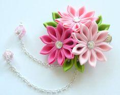 Handmade kanzashi fabric flower grosgrain ribbon french barrette