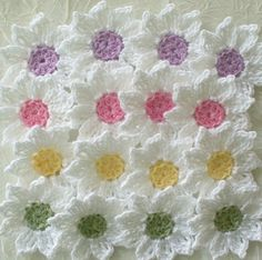 Fresh as a Daisy - Crochet Flowers. These are sold but I wanted the pic; Each flower has 9 pointed petals and is a little over 1 inch. Crocheted in size 10 cotton crochet thread. Crochet Daisy, Cotton Crochet, Thread Crochet, Love Crochet, Crochet Crafts, Yarn Crafts, Crochet Projects, Knit Crochet, Diy Crafts