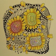 Guess I'm 'in'to' Hundertwasser these days. Another zentangle, inspired by one of his paintings. Tangle Doodle, Tangle Art, Zen Doodle, Doodle Art, Zentangle Drawings, Doodles Zentangles, Zentangle Patterns, Doodle Drawings, Doodle Inspiration