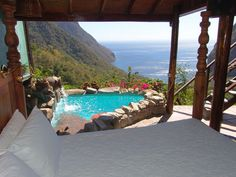 Ladera resort on St Lucia. private and open to the air