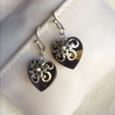 NewEarrings Silver 925 & Swarovski crystal New!Earrings Silver 925 with Swarovski crystal heart - Available in many colors! Perfect for the coming summer!! Black/Red Jewelry Earrings