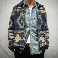 amazing Ralph Lauren southwestern style indigo cardigan -- rugged and relaxed me. amazing Ralph Lauren southwestern style indigo cardigan -- rugged and relaxed menswear fall style + fashion Look Fashion, Latest Fashion Clothes, Autumn Fashion, Mens Fashion, Fashion Outfits, Hipster Style Outfits, Rugged Fashion, Fashion Pants, Fashion Ideas