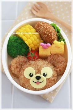 Fluffy Duffy for Bento Recipe - Yummy this dish is very delicous. Let's make Fluffy Duffy for Bento in your home! Bento Kids, Bento Box Lunch, Bento Recipes, Baby Food Recipes, Kawaii Bento, Boite A Lunch, Food Humor, Cute Food, Creative Food