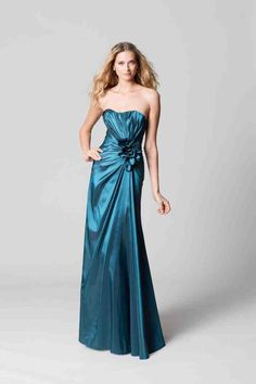 Long Teal Bridesmaid Dresses 1