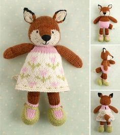 Ravelry: Girl fox in a flowery frock pattern by Little Cotton Rabbits