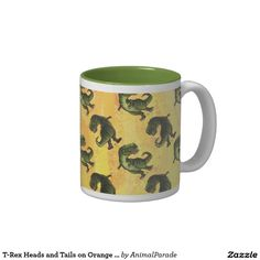 TRex Dino Heads and Tails on Orange Pattern Mug by Animal Parade. #dinosaurs #patterns #cuteforkids