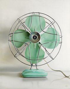 Christopher Stott Teal Vintage Electric Fan / 16 x 20 / oil on canvas Antique Fans, Vintage Fans, Vintage Decor, Vintage Antiques, Retro Vintage, Teal Desk, Retro Fan, Old Fan, Vintage Appliances