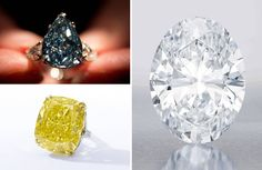 Christie's claims the record for blue diamonds. It sold the Winston Blue (above left), a 13.2 carat flawless blue diamond, for $23.8 million, in May in Geneva. It also sold the Wittelsbach blue, in 2008 in London, for $24.3. The fact that they claim the record for the cheaper Winston blue diamond suggests that its specialists consider the Wittelsbach a deep grayish blue, and not a flawless blue—a demotion on a technicality similar to the the asterisk that baseball statisticians placed beside…