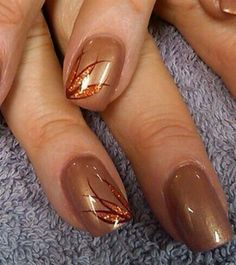 25 Pretty Nail Art for Fall copper tone by aliciarock - Nail Art Gallery by Nails Magazine Purple Nail Art, Pretty Nail Art, Beautiful Nail Art, Pink Art, Fancy Nails, Trendy Nails, Jolie Nail Art, Thanksgiving Nail Art, Gel Nagel Design