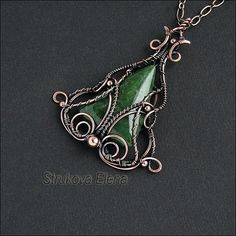 Jade sculpted with copper wire
