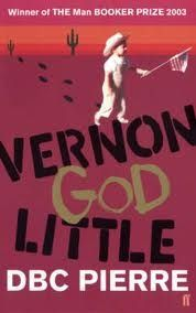 """""""Vernon God Little."""" 2003 Booker Prize winner about a teenage Texas boy who becomes the prime suspect in a series of murders after his friend kills 16 schoolmates and then shoots himself.  Little doesn't help his case by running away to Mexico.  The writing is brilliant at times, filled with outlandish characters, brilliant similes, and profanity-laden, keen observations.  Pierre is Australian, and his portrayal of Americans and their consumerist obsessions is fascinating."""