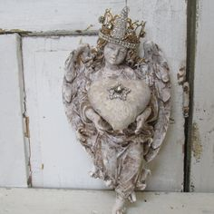 Angel wall decor statue holding a heart ornate crown hand painted distressed shabby cottage chic cherub decoration anita spero