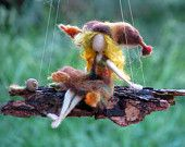 Needle felted mobile Waldorf inspired art doll fall fairy on bark
