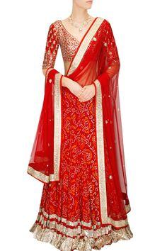 Anita Dongre Rajasthani inspired Red color Bandhi Lehenga with exquisite Gota Patti handwork done by artisans in Jaipur. Bridal Lehenga Choli, Indian Lehenga, Indian Attire, Indian Wear, Indian Dresses, Indian Outfits, Desi Wear, Indian Bridal Fashion, Indian Couture