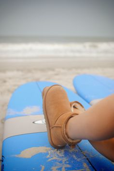 UGG Australia's short sheepskin boot for women - the #Classic Mini - #UGGboots #beach