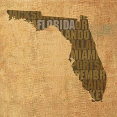 Florida Word Art State Map On Canvas by Design Turnpike