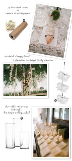 Hanging flower strands or garlands from tree with trunk wrapped in flowers.